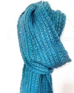 Photo écharpe au point de côte à maille glissée laine puna de drops monblabladefille.com