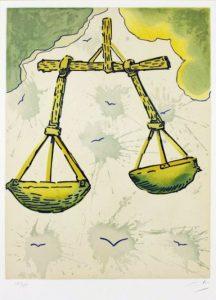Salvador Dali ; ses peintures des signes du zodiaque : l'équilibre (…) ce point central, à égale distance duquel s'égalisent les deux plateaux du moteur et du frein, de l'élan et de la retenue, de la spontanéité et de la réflexion, de l'abandon et de la crainte, de l'appel et du recul devant la vie. (reins)
