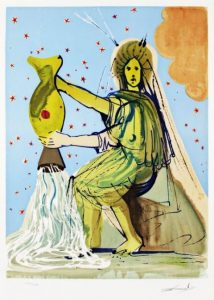 Salvador Dali ; ses peintures des signes du zodiaque : Il symbolise la solidarité collective, la coopération, la fraternité et le détachement des choses matérielles. (…) l'être libéré dans le feu de la puissance prométhéenne, en vue de se dépasser. (…) l'altruisme. Il existe aussi un Verseau uranien, prométhéen, qui est l'être de l'avant-garde, du progrès, de l'émancipation, de l'aventure. (jambes, système circulatoire)