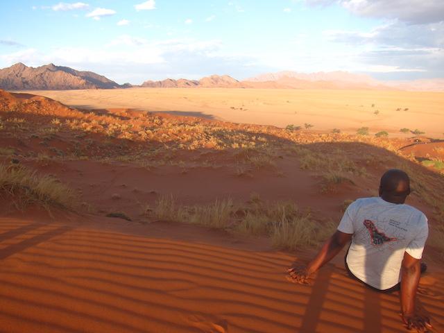 Vue de Elim Dune au coucher de soleil