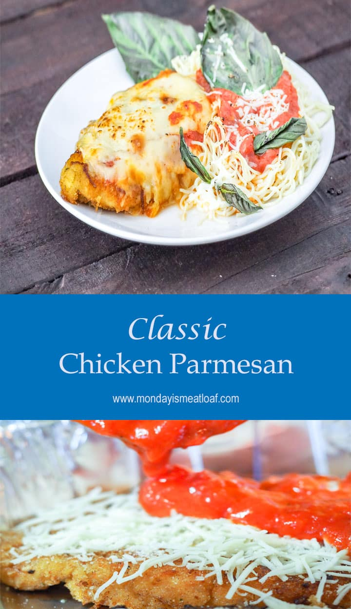 A classic Italian dinner perfectly cooked for a stunning family dinner! Infused with savory flavors this tender chicken will melt in your mouth! A real stunner! See the new recipe at www.mondayismeatloaf.com #familydinner #chickenparmesan #delish