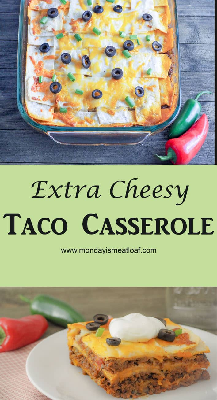 Extra Cheesy Taco Casserole - An easy casserole that everyone will love to eat again and again! Great to make ahead for meal prep for the week or for your next office potluck! An kid-friendly recipe they will ask for again and again! #easydinner #taco #tacocasserole #kidfood #groundbeef #comfortfood #mealprep #makeahead