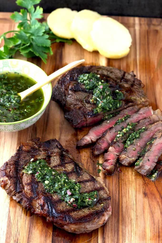 grilled rib-eye steaks with chimichurri sauce