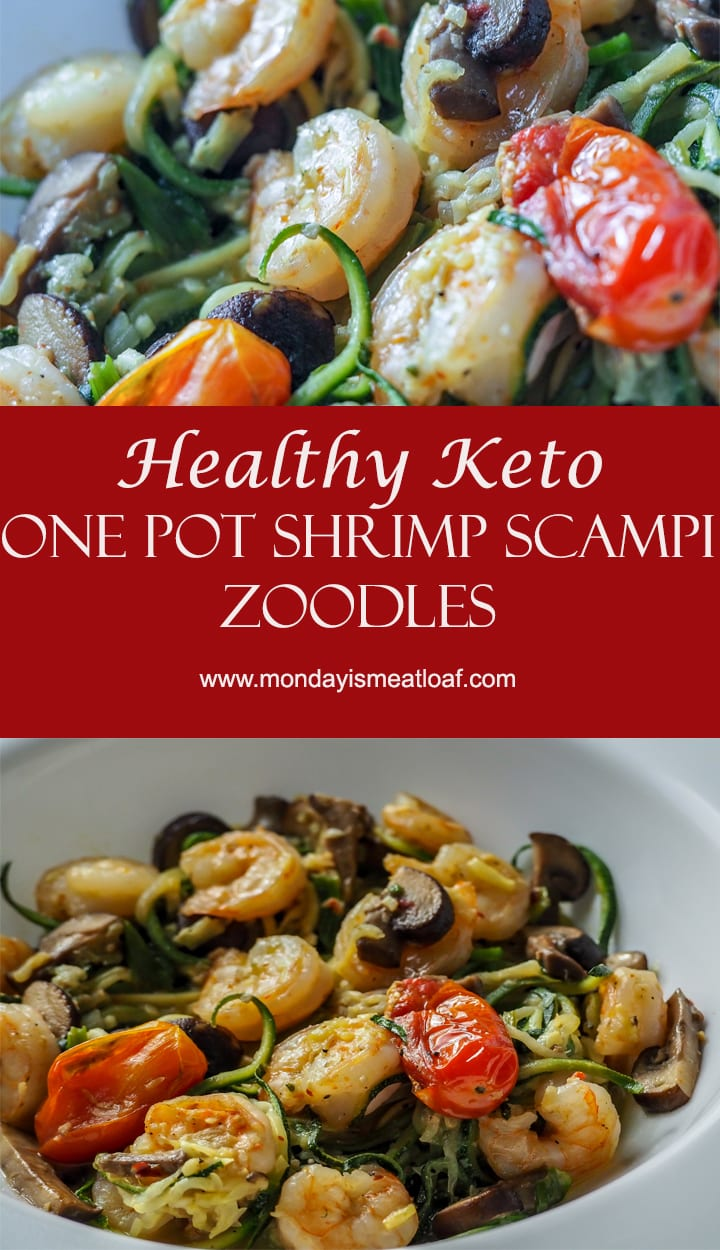 Keto Shrimp Scampi Zoodle Skillet - done in 20 minutes this is a great weeknight dinner or meal prep option to keep your healthy goals on track! Full of nutrients this no-carb meal will be a hit with anyone. A great lunch or meal prep option!