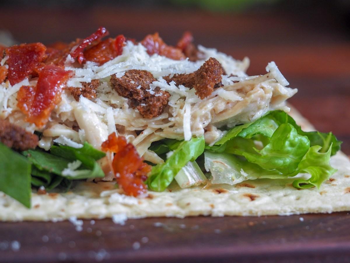 instant pot chicken caesar salad wrap