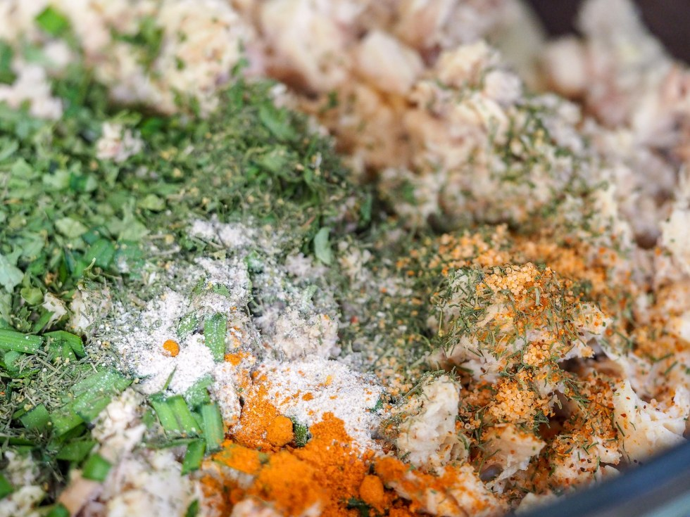 close-up view of salmon patty mixture