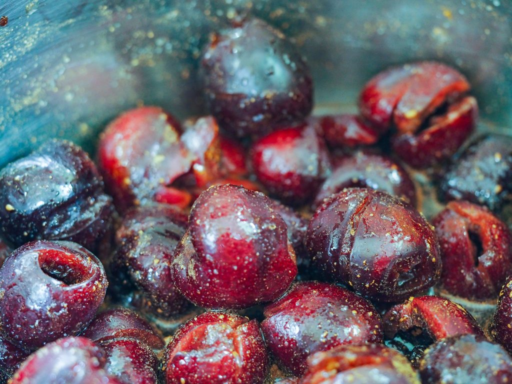 pitted cherries close up in instant pot