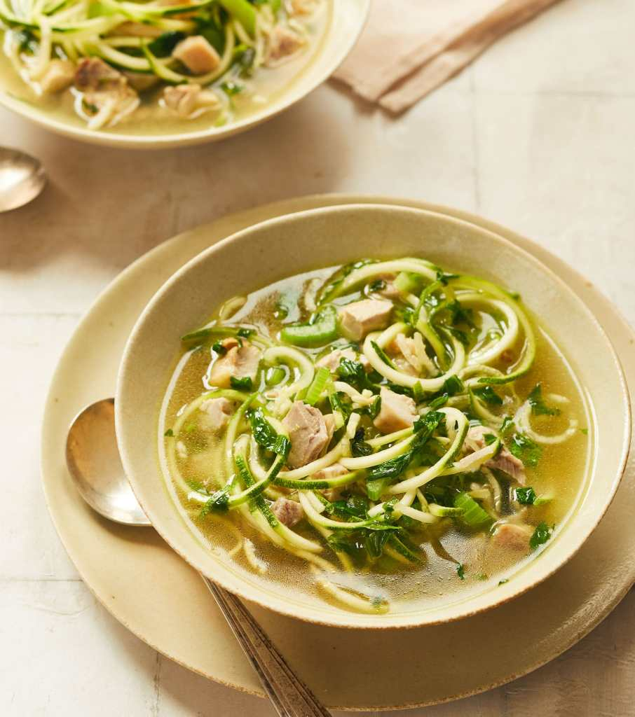 bowl of chicken zoodle soup