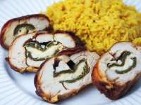 jalapeno popper chicken on white plate with rice
