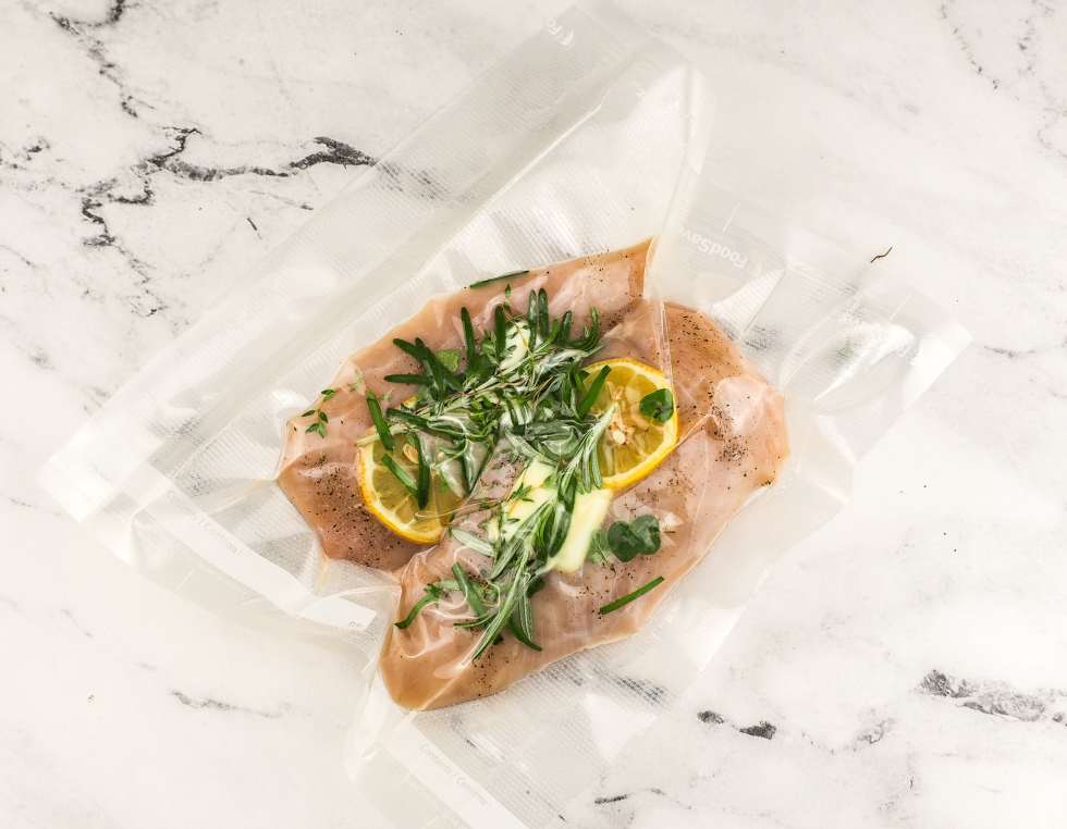 lemon herb chicken in seal Foodsaver bag