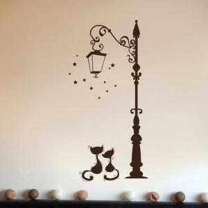 Sticker muraux chats sous lampadaire