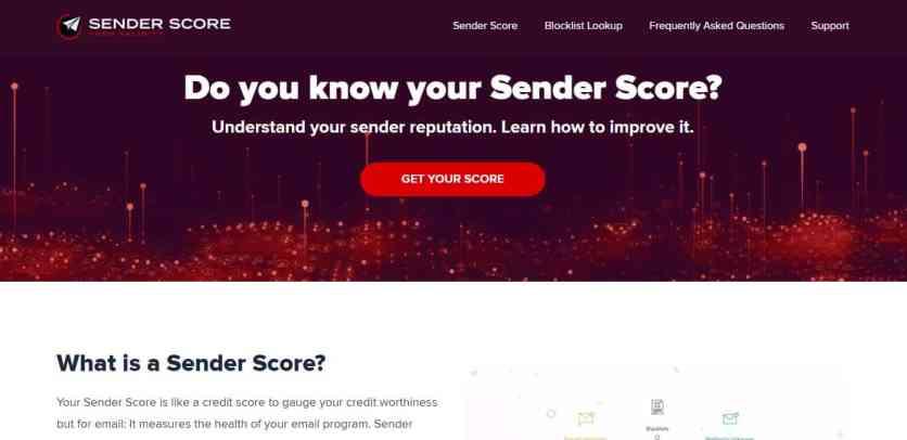 Page d'accueil de Sender Score