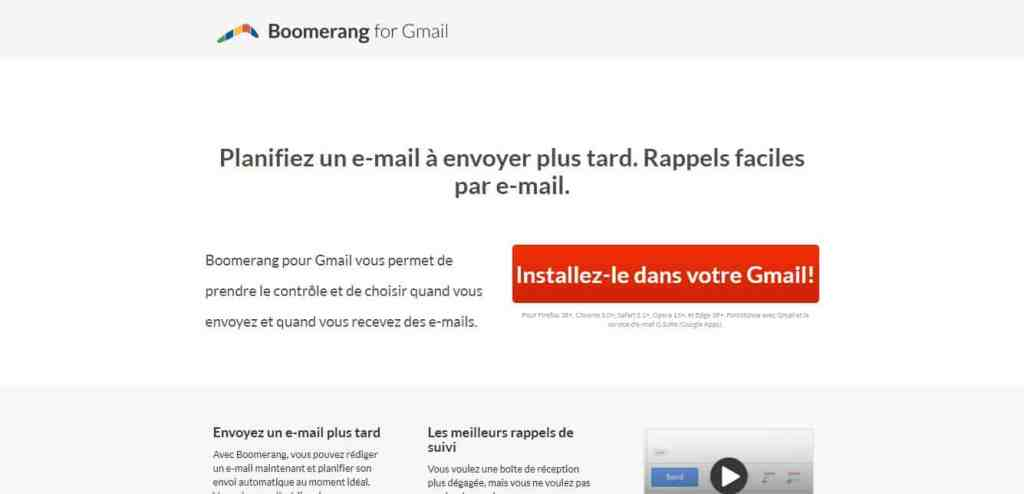 Boomerang for Gmail : Pour garder sa boîte Gmail propre