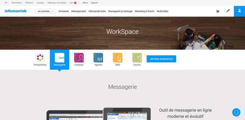 Workspace Infomaniak : le meilleur des hébergeurs mail pro