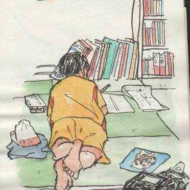 勉強中の息子