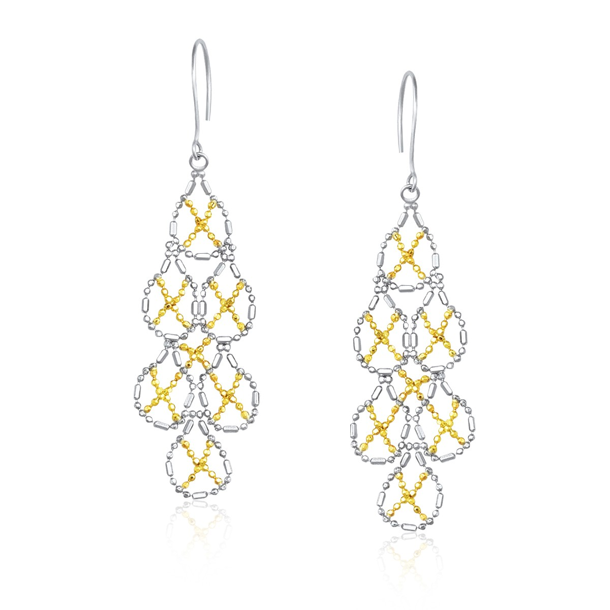 14k Yellow Gold Amp Sterling Silver Pear Shaped Beaded