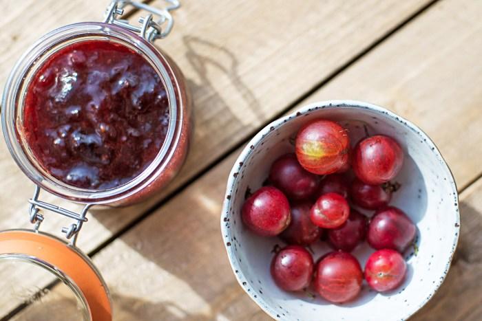 A summer tart with red gooseberry jam and custard cream