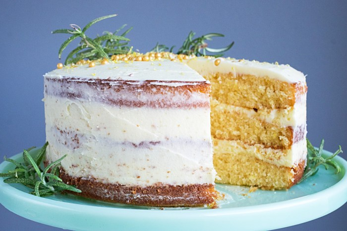 Lemon Cake with Rosemary Buttercream Frosting.