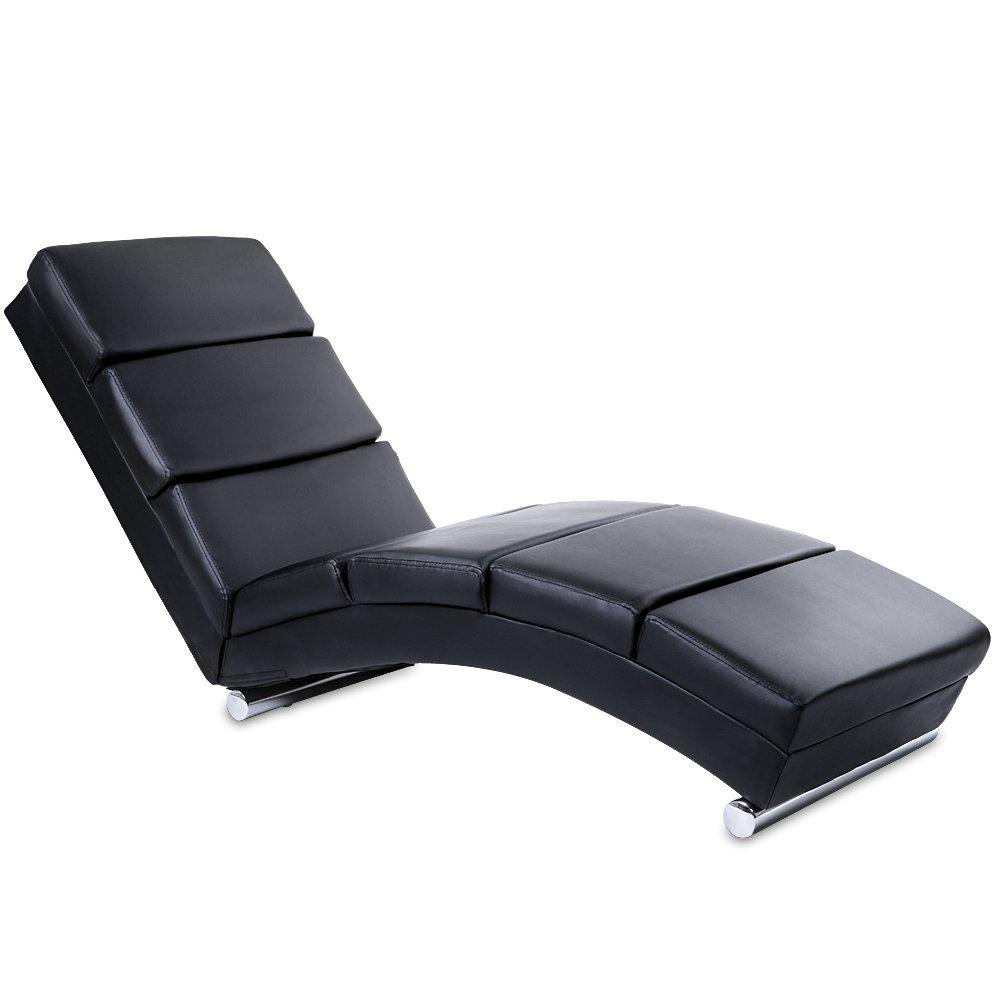 Sedia a sdraio in pelle artificiale con cuscini imbottiti e basi cilindriche in acciaio cromato