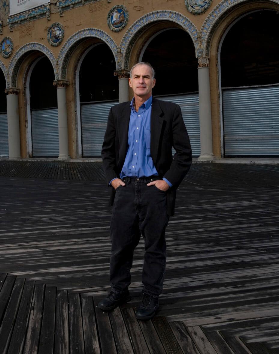 Norman Finkelstein down by the sea in Brooklyn
