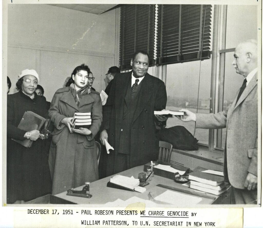 "Paul Robeson presents ""We Charge Genocide"" to the UN Secretariat in New York, December 1951"