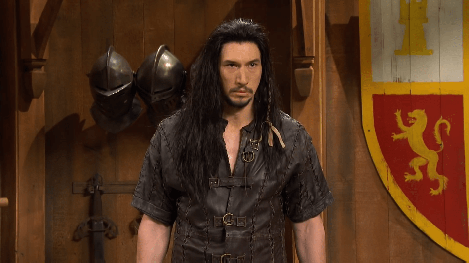 Adam Driver gets really serious about his character at Medieval Times on 'SNL'