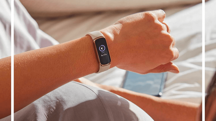 Pictured here in Lunar White/Soft Gold Stainless Steel, the all-new Fitbit Luxe comes in four sleek styles.