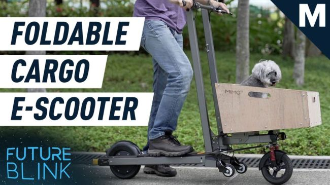 Transport anything on the go with this ridiculously fast folding e-scooter