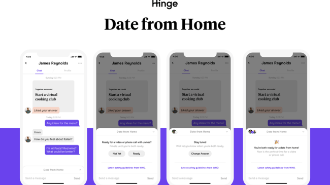 Hinge launches 'Date From Home' feature to help users do just that