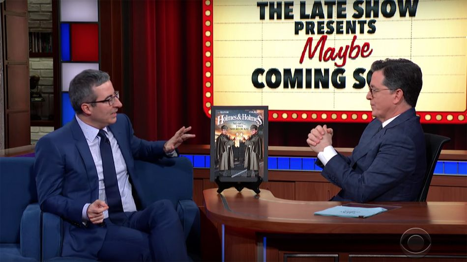 John Oliver and Stephen Colbert improvising fake movie plots deserves a show of its own