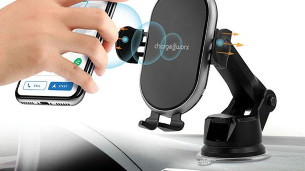 Cars: TheChargeworx car mount attaches to your dashboard for easy charging and navigation.