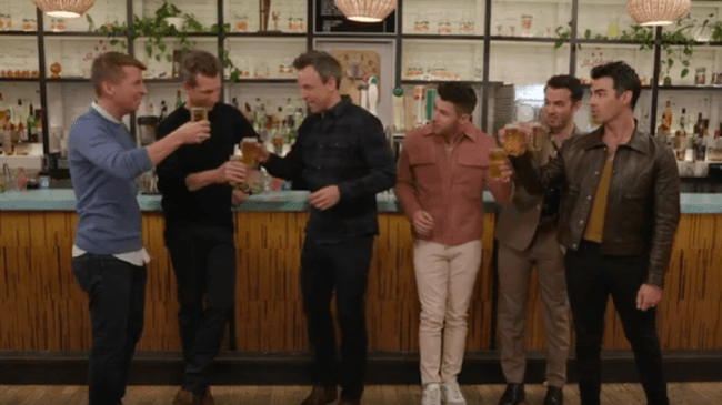 The Jonas Brothers join Seth Meyers for horrifying day drinking and horny songwriting