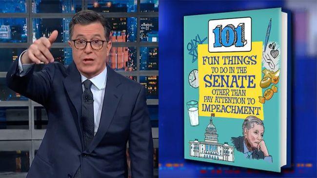 Stephen Colbert has an activity book to help bored senators at Trump's impeachment