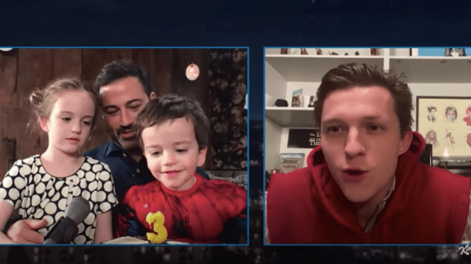 Tom Holland is an adorable birthday surprise for Jimmy Kimmel's tiny son