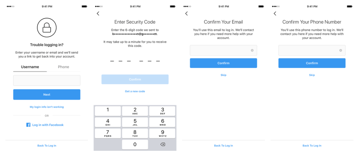 Instagram's new in-app recovery process.
