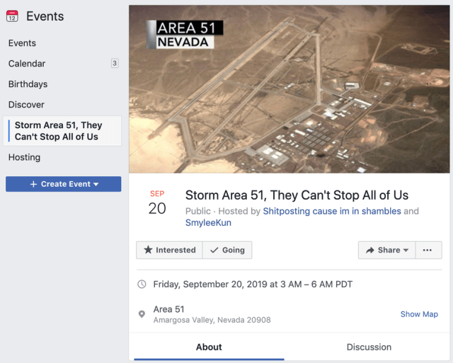 The Facebook Event inviting people to Storm Area 51.