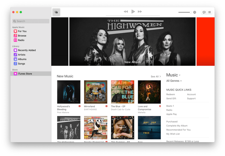 Apple Music interface on macOS Catalina.