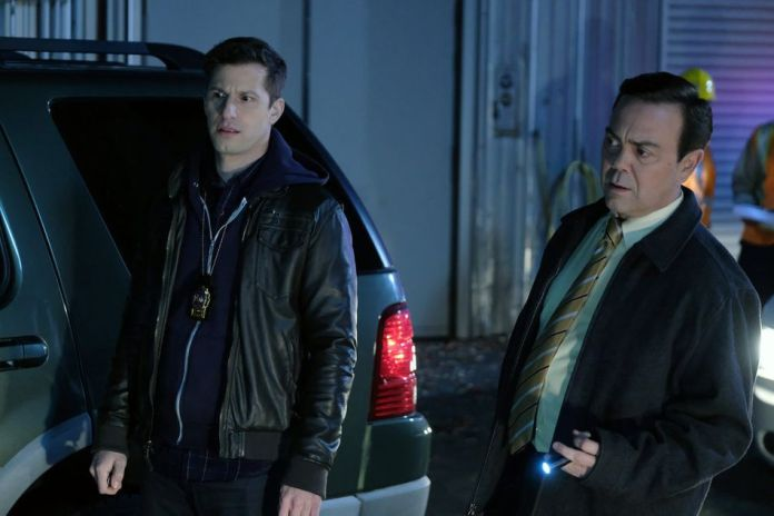 "Andy Samberg as Jake Peralta, Joe Lo Truglio as Charles Boyle in the 'Brooklyn Nine-Nine' Season 7 finale, ""Lights Out."""