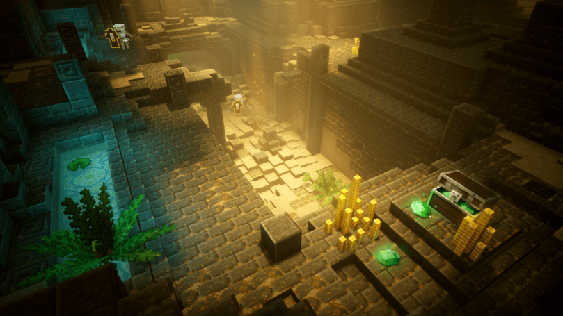 The lighting changes are really noticeable in 'Minecraft Dungeons.'