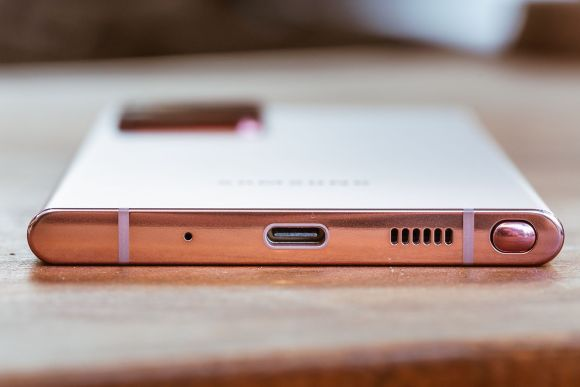 The bottom of the Note 20 Ultra is where you'll find the S-Pen.