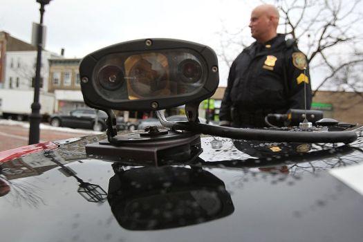An ALPR mounted to a police car.