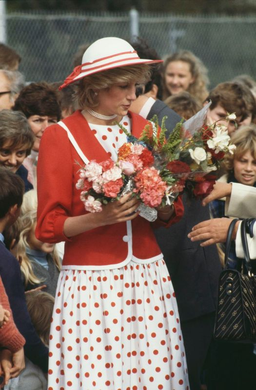 Diana wore a few red and white dresses with red or white hats in Australia; this one is the closest to the one seen on