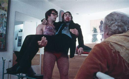 Prowse, in his underwear, deadlifts Malcolm McDowell in 'A Clockwork Orange.'
