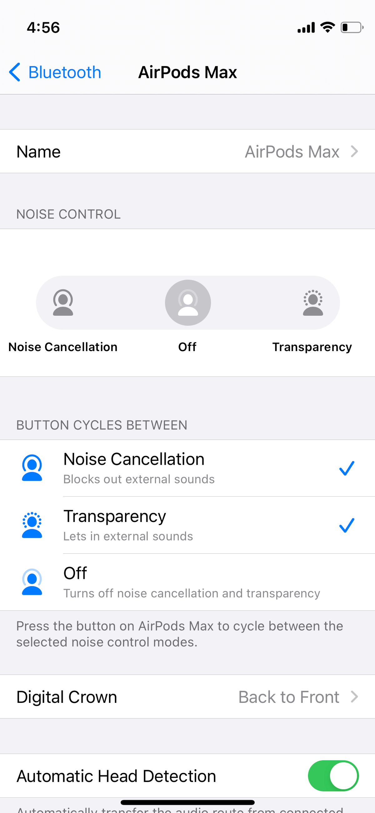 You can customize both the crown and the noise control button via Settings.