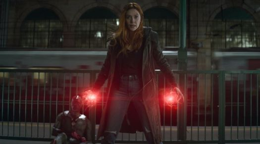 "Vision (Paul Bettany) and Wanda (Elizabeth Olsen) in 2018's ""Avengers: Infinity War."""