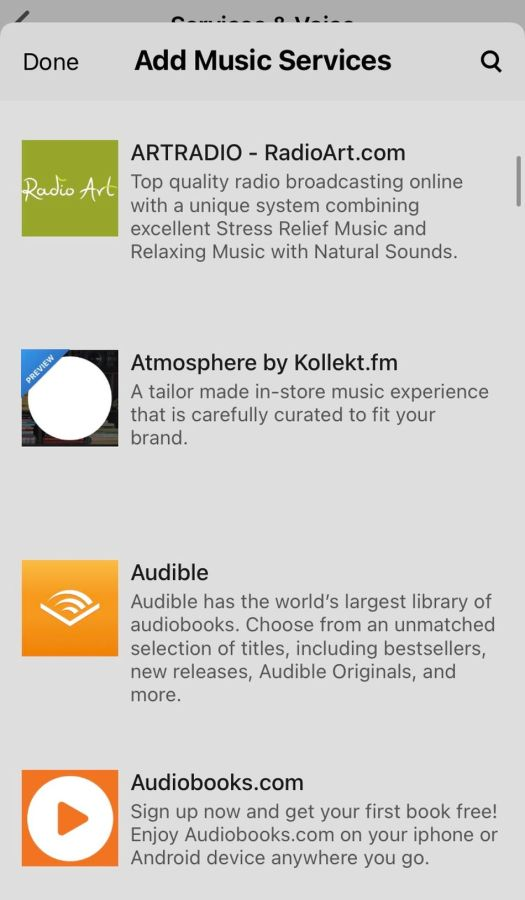 A small sample of the streaming service selection.