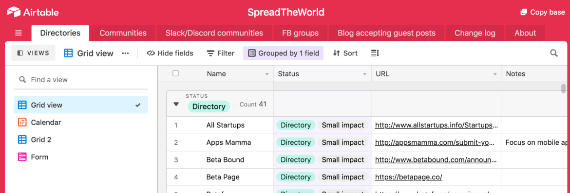 Spread the World on Airtable curates hundreds of links to help fellow