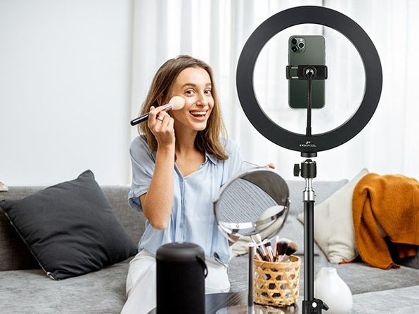Enhance your TikToks with this adjustable tripod and ring light set