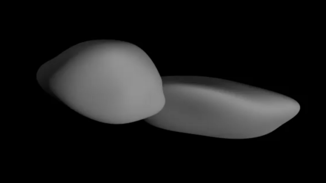 An animated depiction of MU69, or Ultima Thule