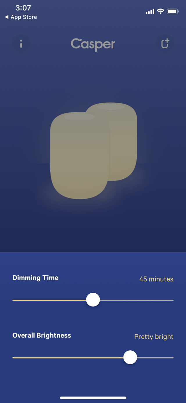 The Casper Glow app's pretty basic.